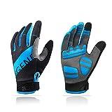 Aegend Adjustable Lightweight Cycling Gloves - Touch Screen, Anti-Slip Full Finger Mountain Bike Gloves - Breathable Sports Gloves for Biking, Workout - Unisex Motorcycle Gloves for Men/Women, M