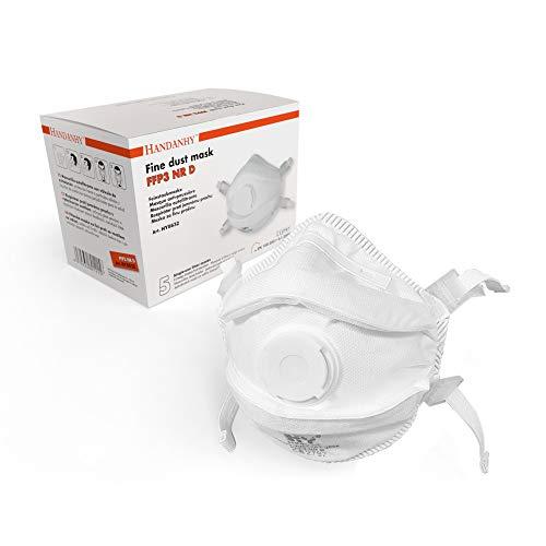 FFP3 - Maschere respiratorie con valvola di espirazione (x5) - Conforme EN 149:2001 e A1:2009, fascia a 4 punti con fodera imbottita per un maggiore comfort e sicurezza (tipo B - confezione da 5)