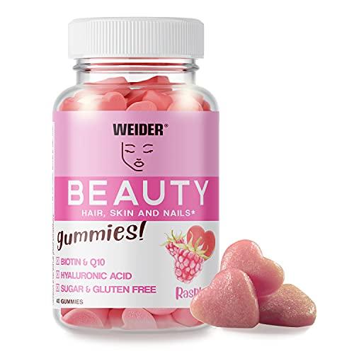 Weider Beauty Gummies. Gominolas para el cuidado de la piel, pelo y uñas. Sin Azúcares y Sin Gluten. 40 gummies. Sabor frambuesa.