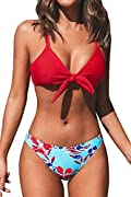 Design: Knotted and Back Cross Bikini Top with Adjustable Shoulder Straps. Floral Printed and Low Rise Bikini Bottom. About Cup Style: With Removable Padded Cups And Nonfunctional Bow. The Pattern is One of a Kind - The Exact Pattern You Receive Will...