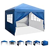 ASTEROUTDOOR 10'x10' Pop Up Canopy with Sidewalls, Adjustable Leg Heights, Windows, Wheeled Carry Bag, Stakes and Ropes, Royal Blue