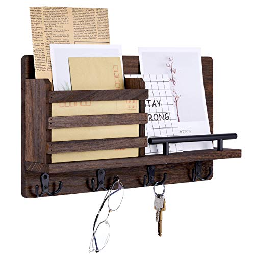 Artmag Key Mail Holder for Wall Decorative,Wall Mounted Rustic Mail Organizer with 4 Double Key Hooks Perfect for...