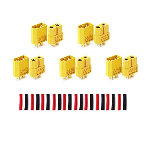 LHI 10 Pairs XT-60 XT60 Male Female Bullet Connectors Plugs for RC Lipo Battery