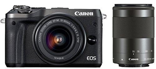 Canon ミラーレス一眼カメラ EOS M6 ダブルズームキット(ブラック) EF-M15-45mm/EF-M55-200mm 付属 EOSM6BK-WZK