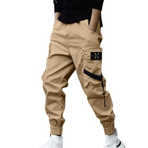 Pantaloni Uomo Jeans Strappati Corti,Momoxi Pantaloni Stile Nuovo Impiombabile E alla Moda in Due Pezzi Pantaloni Uomo Cargo con Tasche Laterali Tasconi Slim Fit Elastico alle Caviglie Militari Zip
