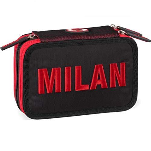 Panini 58068 - Astuccio Corredo 3 Zip AC Milan - Licenza Ufficiale Scuola 2018/19