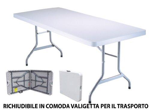 Tavolo Tavolino pieghevole set birreria in dura resina 183x76xH72 cm per sagra campeggio fiera casa