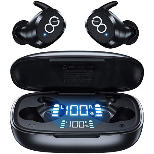 VEATOOL Wireless Earbuds-Bluetooth 5.1 Headphones IPX8 Waterproof with Wireless Charging Case,Premium Deep Bass Earphones in Ear Headset with Smart LED Display Built-in Mic for Sport Running Workout