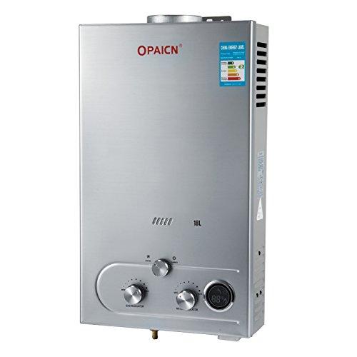 Chaneau Chauffe-eau Gaz LPG Water Heater 6L/8L/10L/12L/16L/18L Chauffe-eau Au Gaz Propane 16KW chauffe-eau Instantané Avec LED Ecran … (18L LPG)