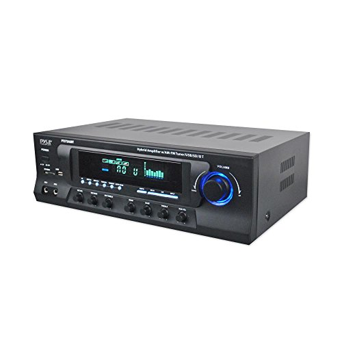 Wireless Bluetooth Audio Power Amplifier - 300W 4 Channel Home Theater Sound Compact Stereo Receiver w/ USB, AM FM, 2 Mic IN w/ Echo, RCA, LED, Speaker Selector - For Studio, Home Use - Pyle PT272AUBT
