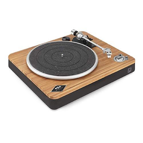 House of Marley Stir It Up platine sans fil – tourne-disque réalisé durablement en bambou, appairage bluetooth, tissue recyclé Rewind, enregistrement USB à PC/MAC, housse de protection – bambou / noir