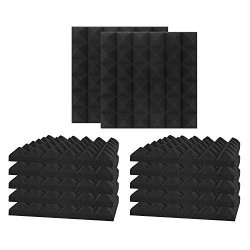 12 Pack Set Acoustic Foam Panels, Studio Wedge Tiles, 2' X 12' X 12' Acoustic Foam Sound Absorption Pyramid Studio Treatment Wall Panels