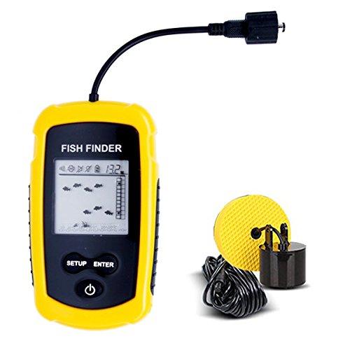 JJOBS Ecoscandaglio da Pesca, Portatile del Sonar LCD Wired Finder Ecoscandagli Cercatori dei Pesci Allarme