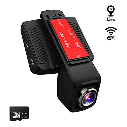 TOGUARD Telecamera per Auto GPS WiFi, Auto Dash Cam, Full HD 1080P 2,45 Pollici LCD Dash Cam Grandangolo di 170°- con Un Caricabatterie d'Automobile con Modulo GPS, 32GB Carta MicroSD