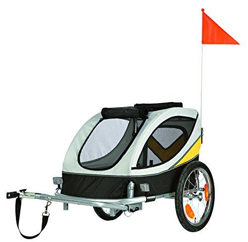 Trixie 12805 Fahrrad-Anhänger, 63 × 68 × 75 cm (M), grau/schwarz/gelb