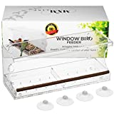 Window Bird Feeder for Outside Close Up Birds View, Hanging Mount Birdfeeder with Removable Tray & Strong Suction Cups for Outdoors Birdwatching Cardinals, Bluebirds, Finches, Orioles. Clear Acrylic