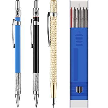 Crayons de Menuisier avec Recharges de Marqueurs et Outil de Grattage de Carbure pour Verre, Céramique, Acier Trempé (15 Pièces)