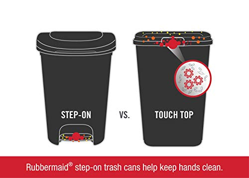 Product Image 7: Rubbermaid Step-On Lid Trash Can for Home, Kitchen, and Bathroom Garbage, 13 Gallon, Black