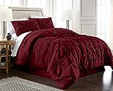 Chezmoi Collection Berlin 3-Piece Pintuck Pinch Pleat Bedding Comforter Set (King, Burgundy)