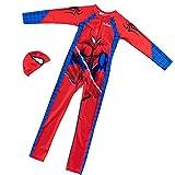 GJZhuan Enfant Spiderman Maillots Bain Tout Un avec Bonnet Maillot Protection UV Ensemble Seaside Sunsuit Garçon Beachwear Poolside Sun Safe Combinaison Séchage Rapide,Red-Kids/XL(105~115cm)