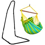 LA SIESTA Sonrisa Lime - Weather-Resistant Hammock Swing Chair with Powder Coated Steel Stand