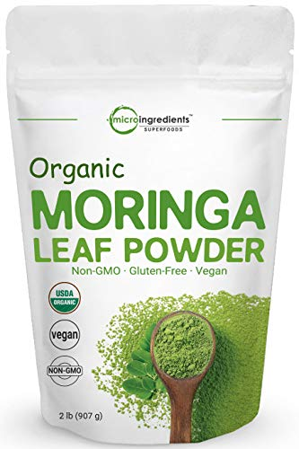 Moringa Powder Organic (Moringa Oleifera), 2 Pounds (32 Ounce), Rich in Natural Antioxidants, Multi Vitamins and Minerals for Green Drinks and Smoothie, No GMOs, Sun Dried and Vegan Friendly