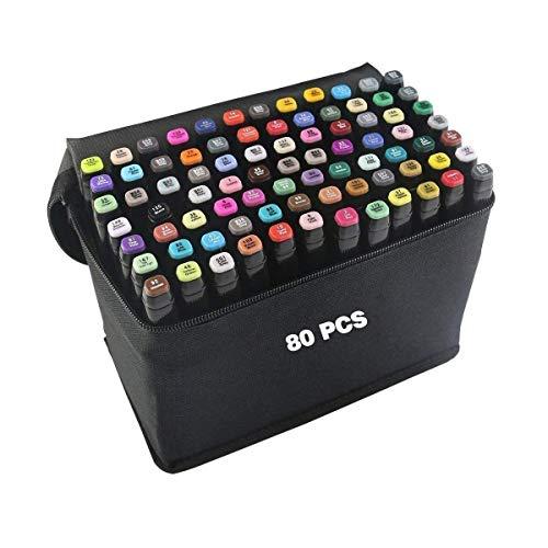 80 Colori Pennarelli per Disegno,Twin Pennarello Artista Necessario Marcatori Doppia Punta Graphic...