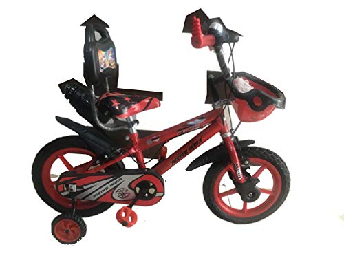 """Rising India 14"""" Sports Kids Bicycle for 3-5 Years with Full Chain Cover and Bottle (Neon Red) -Semi Assembled"""