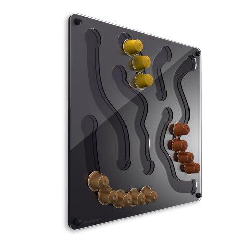 PlexiDisplays 2013.03.032 - Porta Capsule da Parete per Nespresso, Motivo: Caos, Colore: Nero, Dimensioni: 41 x 40 cm