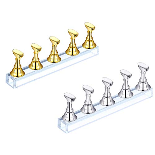 2 Set Christmas Acrylic Nail Art Display Stand- Magnetic Nail Tips Practice Holder Stand Fingernail DIY Display Stands for Home and Salon False Nail Tip Manicure Tool (Silver&Gold)