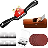 Minatee Adjustable SpokeShave with Flat Base Set Include 1 Adjustable SpokeShave and 1 Mini Wood Hand Planer 6 Metal Blade and 5 Sand Paper Working Hand Tool for Wood Craft, Wood Craver and Wood