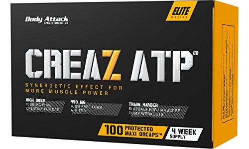 Body Attack CREAZ ATP®, 2x100 Kapseln / 66 Tagesportionen, 100% wasserfreies Kreatin, hochdosierte vegane Maxi-Caps, Adenosintriphosphat für Kraftzuwachs-Steigerung, aspartamfrei, Made in Germany