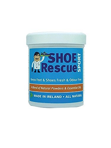 Foot and shoe powder 100g - Odour remover and eliminator - Developed by a registered podiatrist Shoe Rescue is a 100% natural deodorant remedy to eliminate smelly shoes and feet - Keeps feet fresh