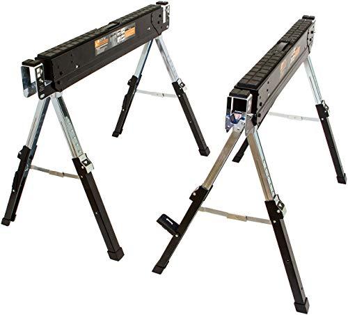 Premium Arbeitsbock, mit höhenverstellbaren stabilen Füßen, zusätzliche Halterung für Kantholz, klappbarer Sägebock mit Tragegriff (2er Set)