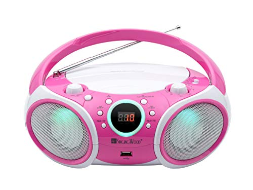 SINGING WOOD, CD Player Boombox CD/CD-R/CD-RW, Portable w/Bluetooth, USB, AM/FM Radio, AUX-Input, Headset Jack, Foldable Carrying Handle and LED Light (Kitty Pink)