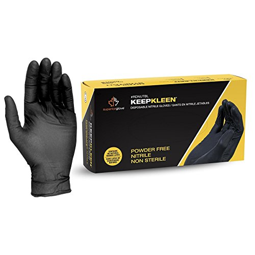 Superior Black Nitrile Gloves, Latex Free Glove, Disposable Gloves, Powder Free, Ultra Thin 3.5 mil Thickness, 9' Length, Size Medium (Box of 200)