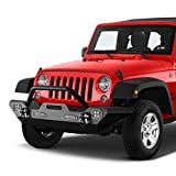 KYX Front Bumper for 2007-2018 Wrangler JK Off-Road Rock Crawler with LED Lights Winch Plate and D-rings, Heavy Duty Black Textured