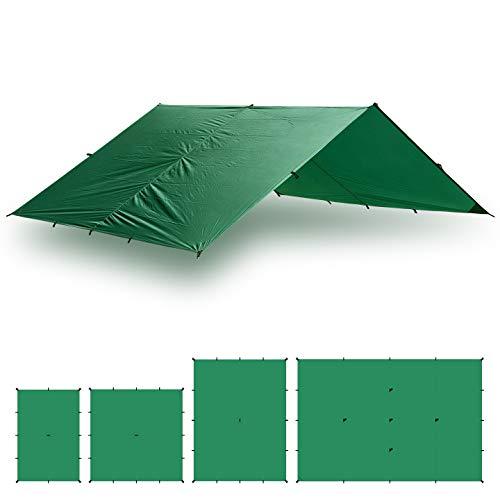 Aqua Quest Guide Tarp - 100% Waterproof Ultralight Ripstop SIL Nylon Backpacking Rain Fly - 10x10 ft Green