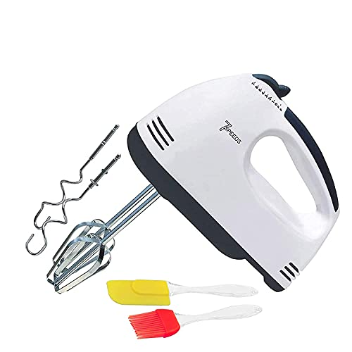 Easymart 260 W Electric Hand Mixer and Blenders with Chrome Beater and Dough Hook Stainless Steel Attachments - Speed Setting with free silicon oil brush and spatula for kitchen