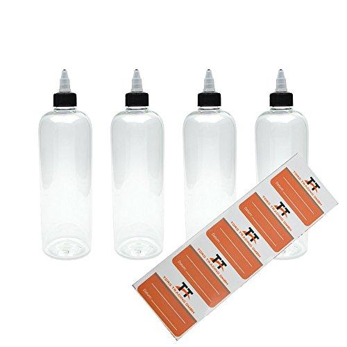 TORG TRADING 4 x 500 ml bottiglie di plastica in Pet con coperchio Twist-Off - Bottiglia vuota - Gocciolatoio, dosatore, Dropper bottiglie, 5 etichette
