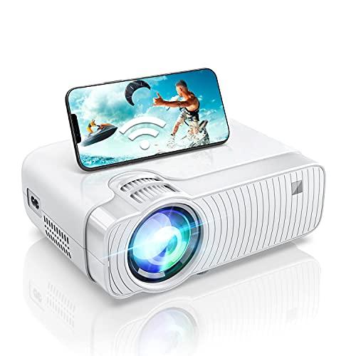 Proiettore WiFi con Supporto Full HD 1080P, 6000 Lumen Mini Proiettore Home Theatre Portatile, Compatibile con iPhone, Android, TV Stick, PS5