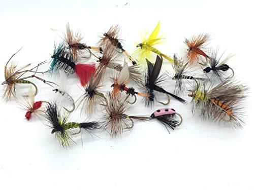 Esche a mosca per pesca, 40 mosche per pesca alla trota, dry flies, confezione #8
