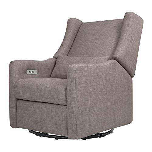 Babyletto Kiwi Electronic Power Recliner and Swivel Glider with USB Port in Grey Tweed, Greenguard Gold Certified