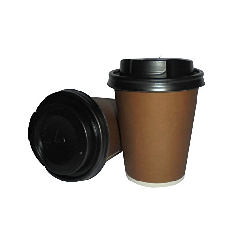 PZ 100 BICCHIERI DI CARTA ML 225 + COPERCHIO PER CAPPUCCINO CAFFE' E CIOCCOLATA CALDA BICCHIERE IN CARTONE TERMICO