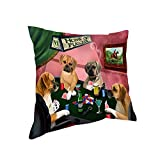 Home of Puggle 4 Dogs Playing Poker Pillow PIL74016 (14x14)