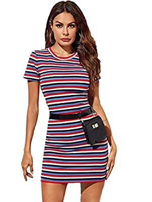 Material: Stretchy and soft material, comfortable to wear Features: Short sleeve, round neck, above knee, mini length, slim fit, black and white striped dress, t-shirt dress Occasions: Basic and classic summer dress, suit for different occasions such...