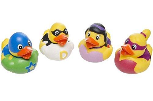 Schnooridoo 4 x Hero Badeenten Duck Superhelden Gummiente Ente Badewanne Spielzeug Kinder Pool