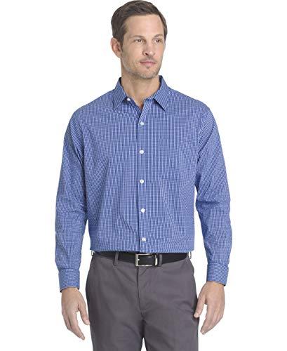 Van Heusen Men's Traveler Stretch Non Iron Long Sleeve Shirt, Blue Mazarine Check, X-Large