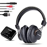 Avantree HT4189 40Hrs Wireless Headphones Set for TV Watching with Bluetooth Transmitter (Digital Optical AUX RCA), No Delay, Dual Link Support, High Volume Over Ear Headset for Seniors, Long Range