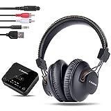 Avantree HT4189 Kabellose Kopfhörer für Fernseher, Drahtlose TV Kopfhörer für Seniors, mit Bluetooth Sender Set (Optisch, RCA, 3,5mm AUX, PC USB Audio), 40 Std. Akku, Plug & Play, No Delay, 30m Range
